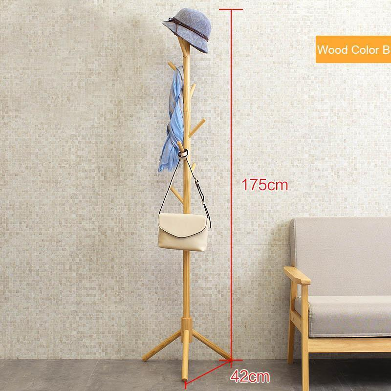 Solid Wood Coat Rack Floor 8-Hook Clothes Hanger Bedroom Clothing Hat Display Stand Creative Home Furniture No Tools Required