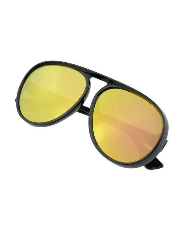 Gold Large Frame Thick Side Sunglasses