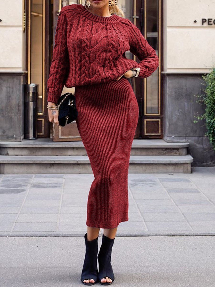 Round Neck Long Sleeve Mid-Calf Plain Casual Dress