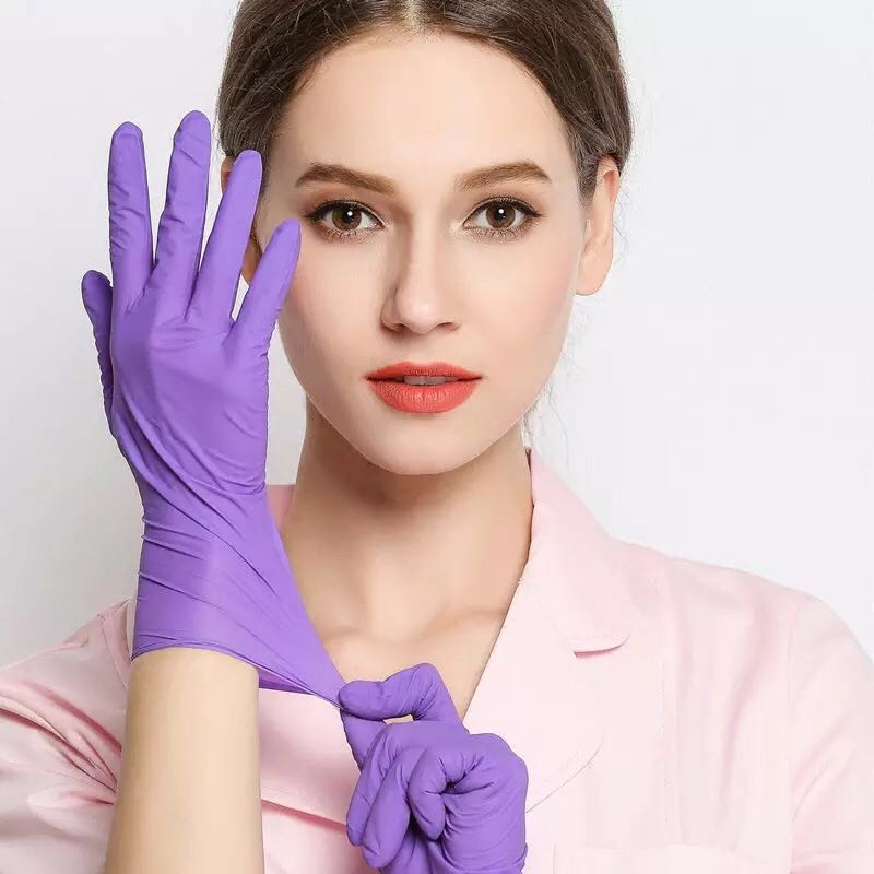 Vooknu 100 pcs Disposable Powder-Free Nitrile Gloves