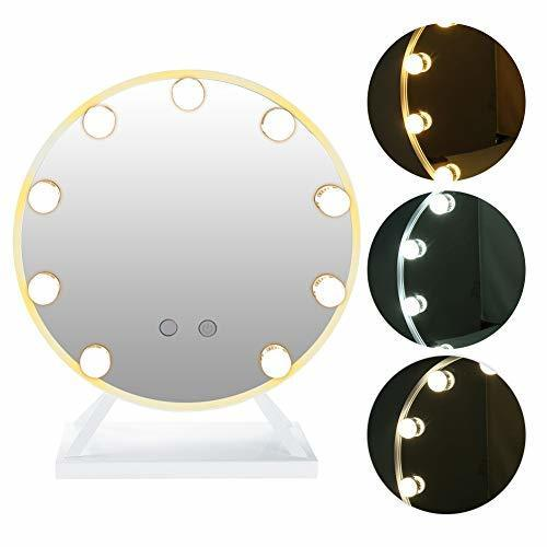 Round Vanity Mirror, Hollywood Round Styles Makeup HD Mirror with 3W LED Vanity