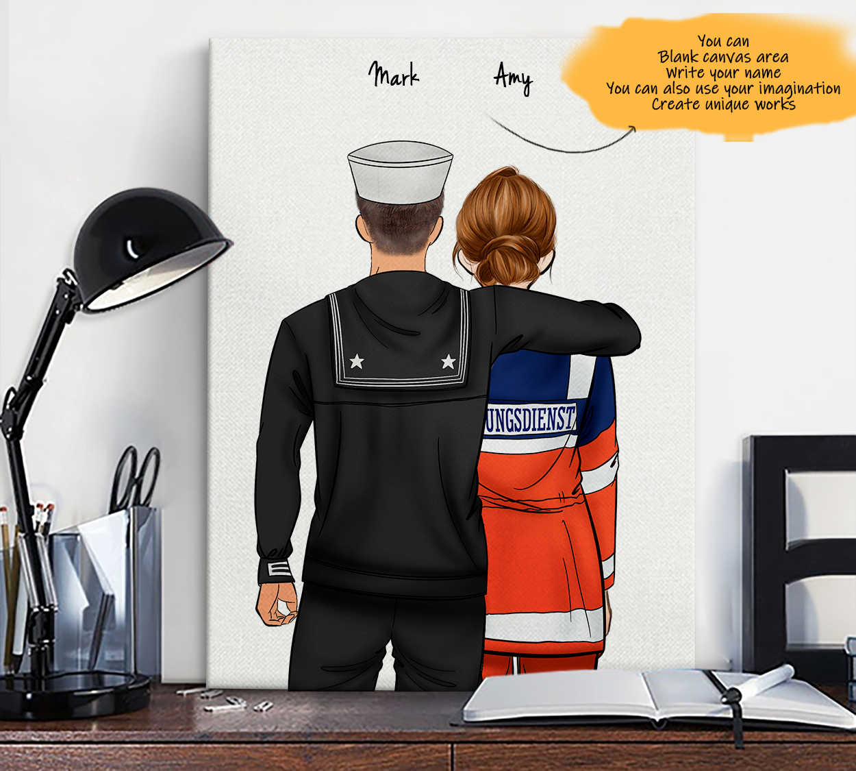 He is My Friend! Hand Draw Custom Canvas-Print Gift NavyUS-Tan&AmbulanceDriverGermany