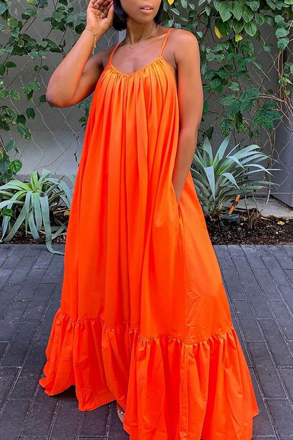 Solid color Pleated Big Swing Dress