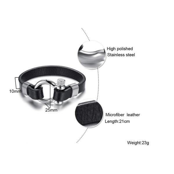 Black Real Leather Bracelet Bangle For Men Stainless Steel Vachette Screw Button Design Unique Jewelry 21cm
