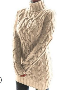 Thickened two lapels retro thick thread twist sweater dress