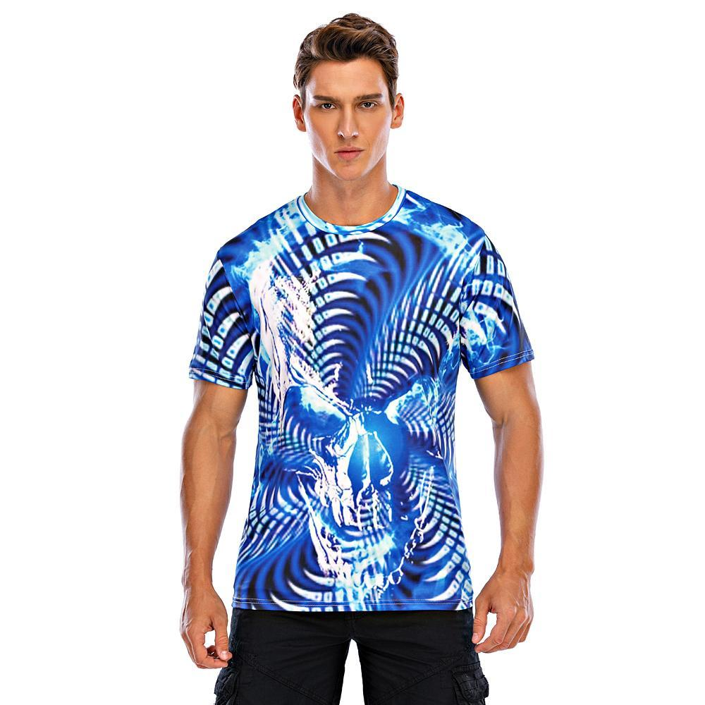 Men's Plus Size T-shirt Geometric Graphic 3D Print Print Tops Street chic Exaggerated Round Neck Rainbow