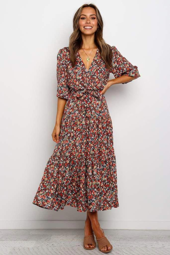 2020 Women Dress Casual Dress Print Tall Dresses Vintage Casual Outfits