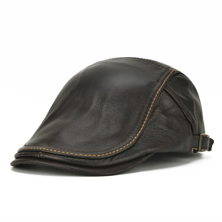 Mens Genuine Cowhide Leather Beret Hat Adjustable