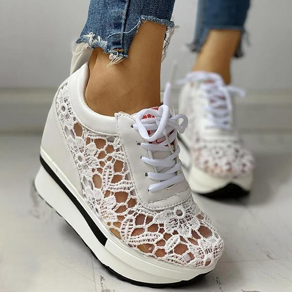 Lemmikshoes Lace Splicing Muffin Casual Sneakers