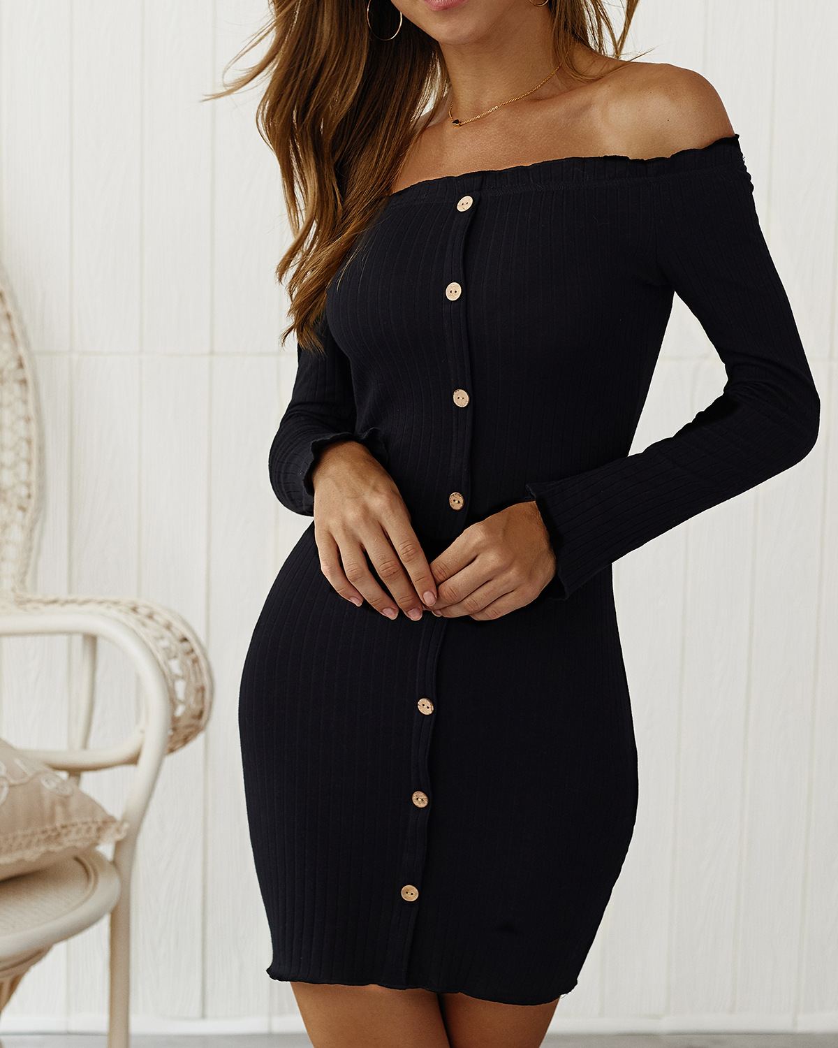 Slim Strapless Buttocks Button with Dresses