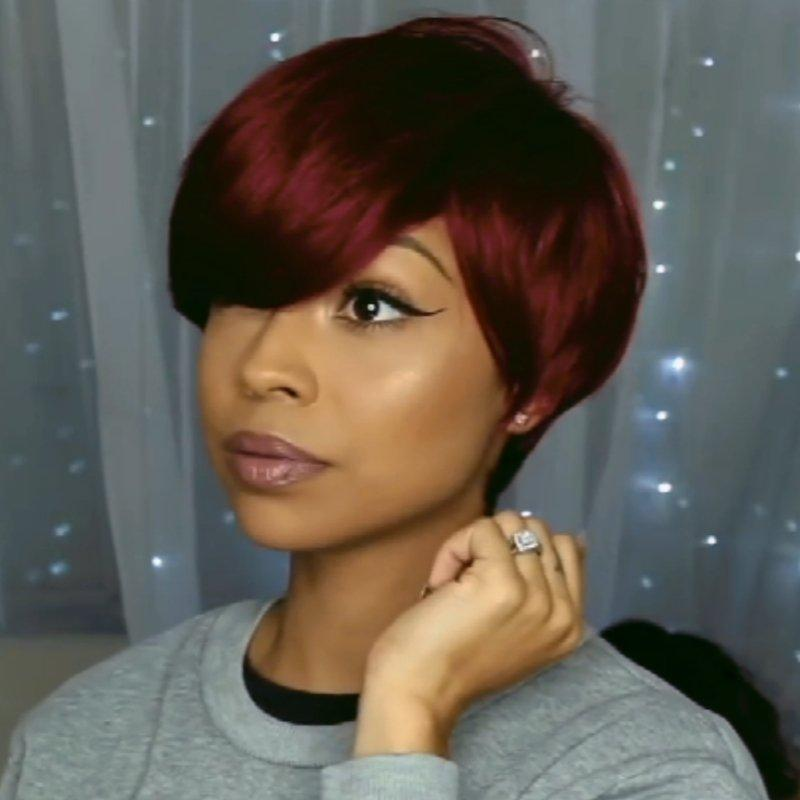 Luna Wig C17 Women Short Straight Cropped with Bangs