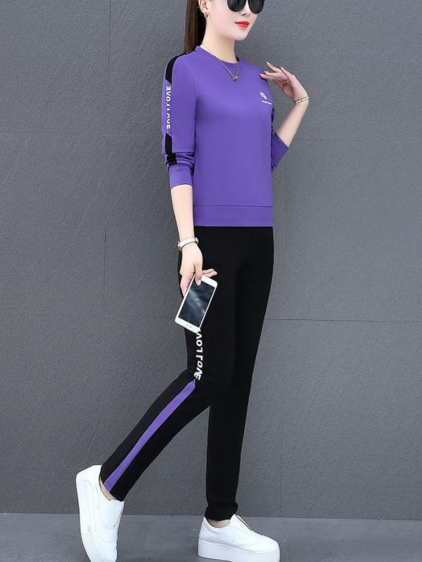 Ladies Casual Round Collar Printing Fleece Two-piece Suit