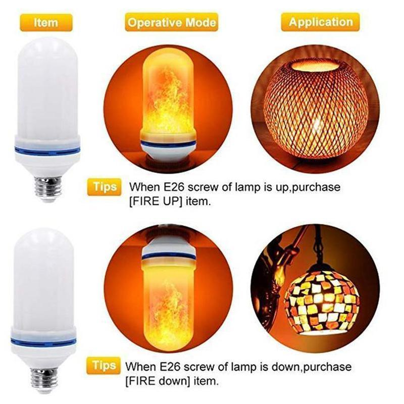 4 Modes LED Fire Artificial Flame Effect Bulbs Decorative Light