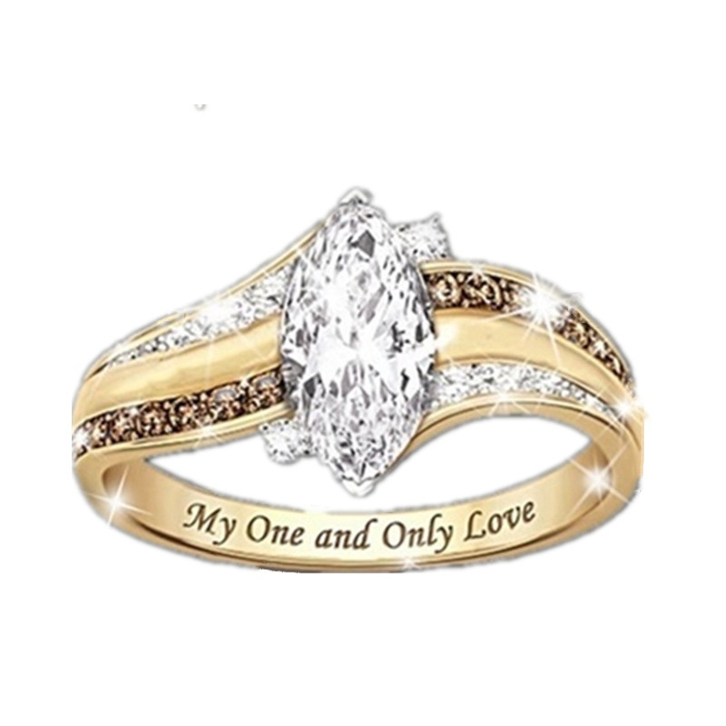 Women's Fashion Diamond Brown White Engraved Ring 'My One and Only Love' Women's Ring Proposal Ring Anniversary Gift Size 6-10