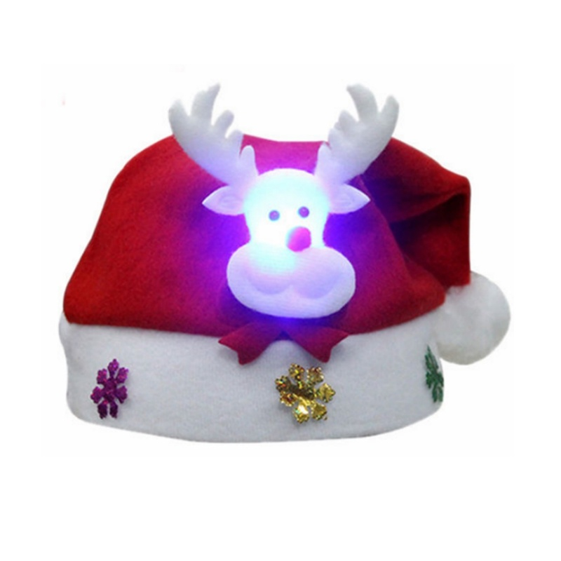 Christmas Decoration Kids Adult LED Christmas Hat Santa Claus Reindeer Snowman Xmas Gifts Cap Bonnet De Noel Adulte Santa Claus Hat