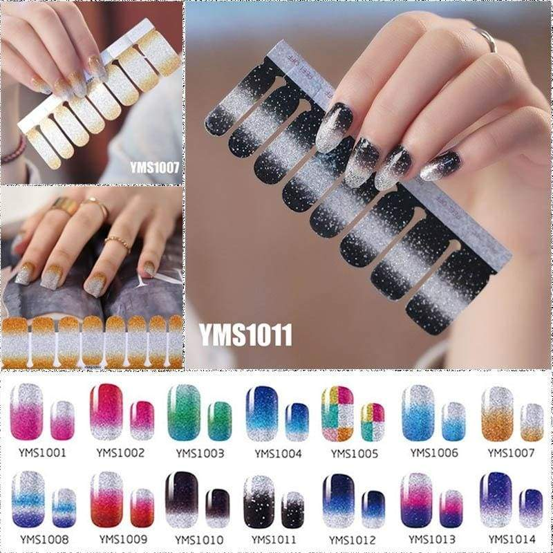 16pc/set Glitter Solid Color Nail Sticker Waterproof Full Sticker Nail Polish Patch Gradient Color Nail Sticker