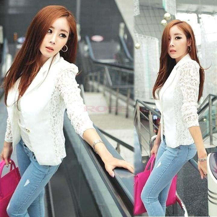 Women's Elegant Coat Lace Splicing Slim Suits Coat Jacket Tops Black White  18438 Women's business suit