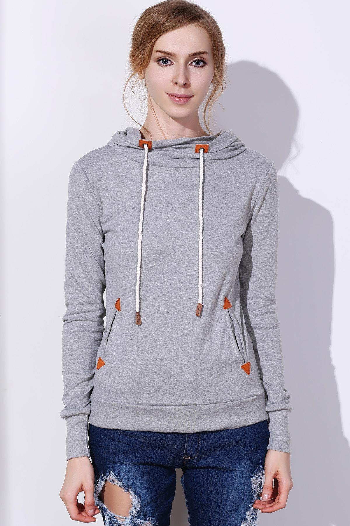 Stylish Hooded Long Sleeve Draped Spliced Women's Hoodie