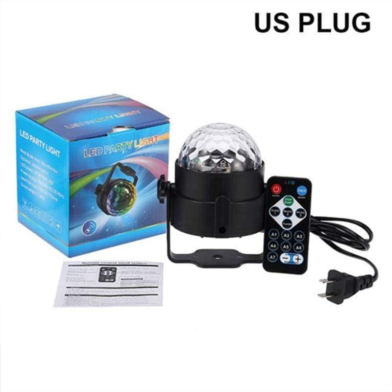 7 Colors Voice-Activated Rotating Laser Projector RGB Stage Effect Lamp Wedding Party Disco Club DJ Light Crystal Magic Ball Light