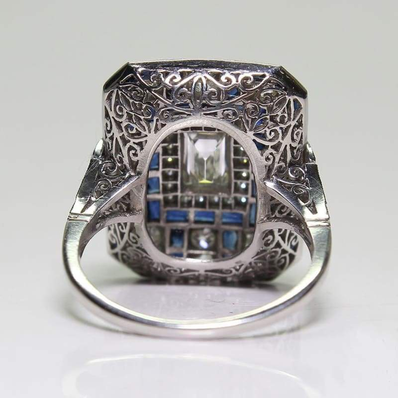 Antique Art Deco Large 925 Jewelry Sterling Silver Blue Sapphire & Diamond Ring