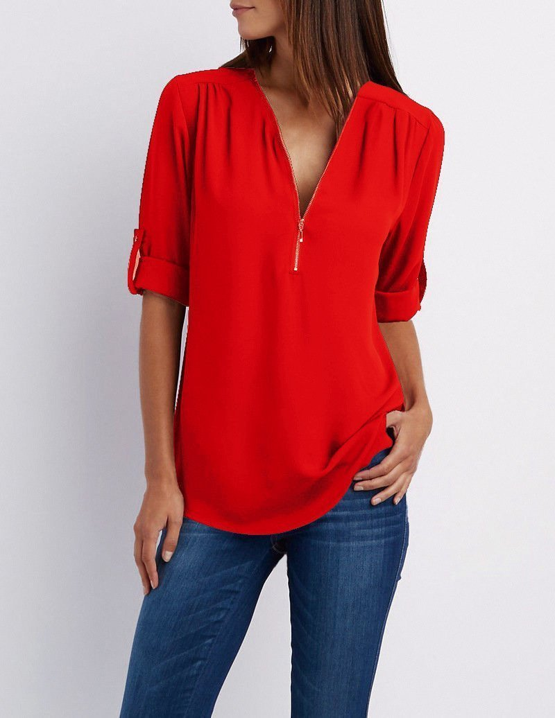 Womens Summer V-Neck Chiffon Long Sleeve Shirt