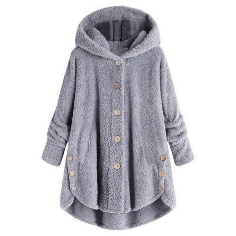 Autumn and Winter Casual Outwear Tops Solid Color Plush Hoodies Long Sleeve Hooded Coat Women Loose Warm Fur Cardigan Coat with Pocket Shaggy Jacket Long Coat Plus Size S-5XL