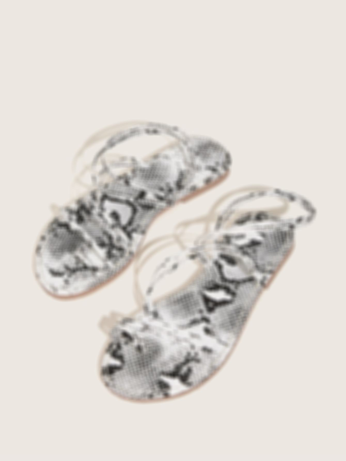 Toe Ring Snakeskin Print Sandals