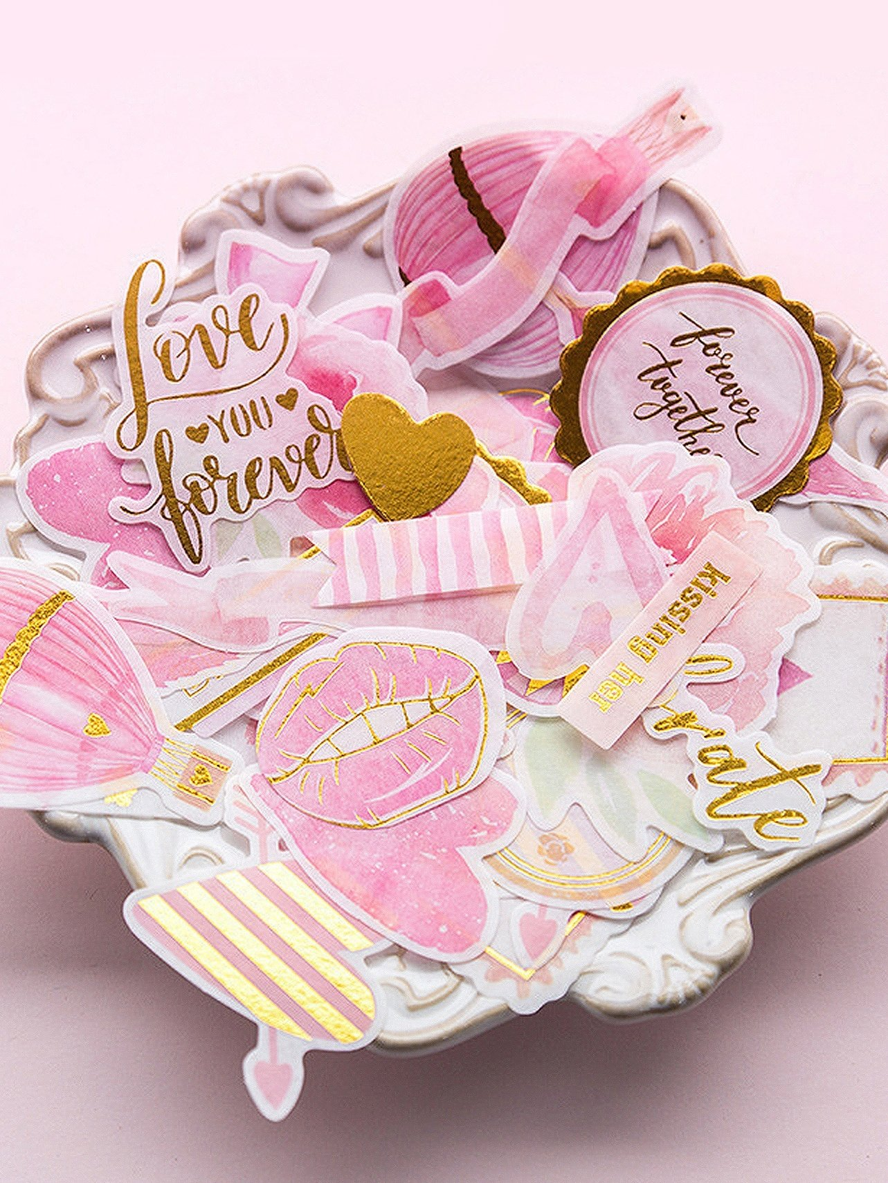 Mixed Pattern Bronzing Sticker 50pcs