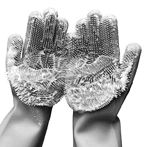 Silicone Dishwashing Scrubbing Gloves- easy to wash dishes with hot water