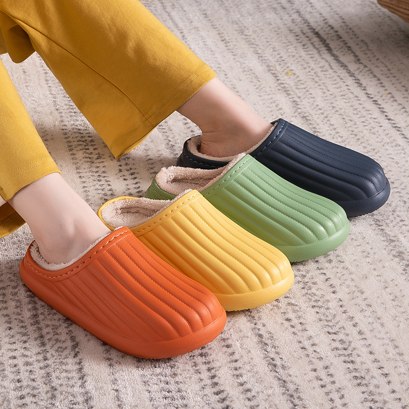 Plush cotton slippers Winter indoor non-slip couple home waterproof slippers platform