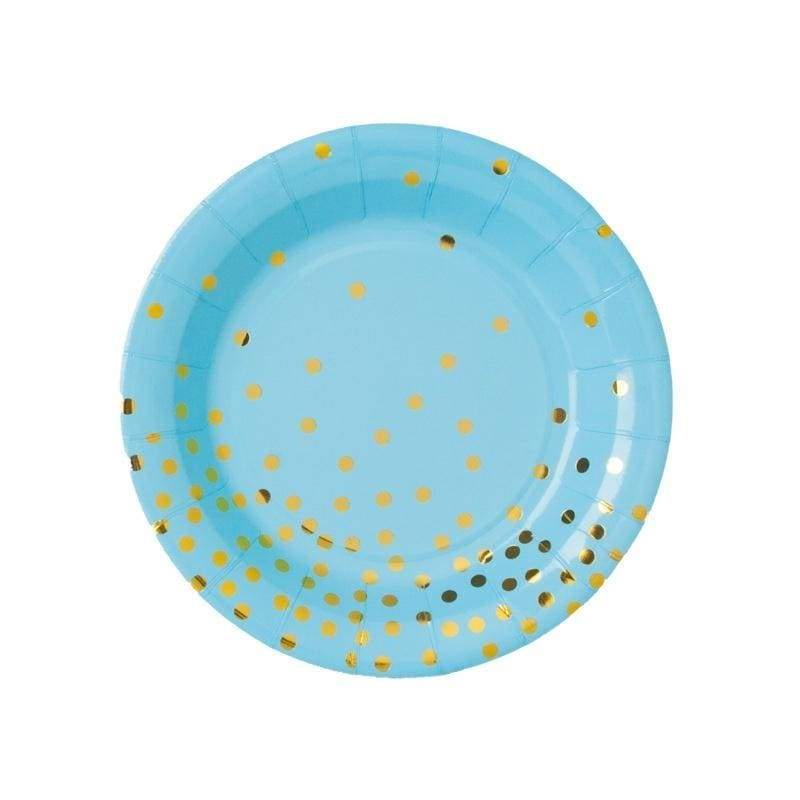 Disposable Gold Dot Paper Plates Cups Dinnerware for Baby Shower Birthday Wedding Party Supplies