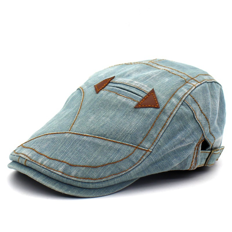 Mens Washed Denim Vintage Style Flat Cap