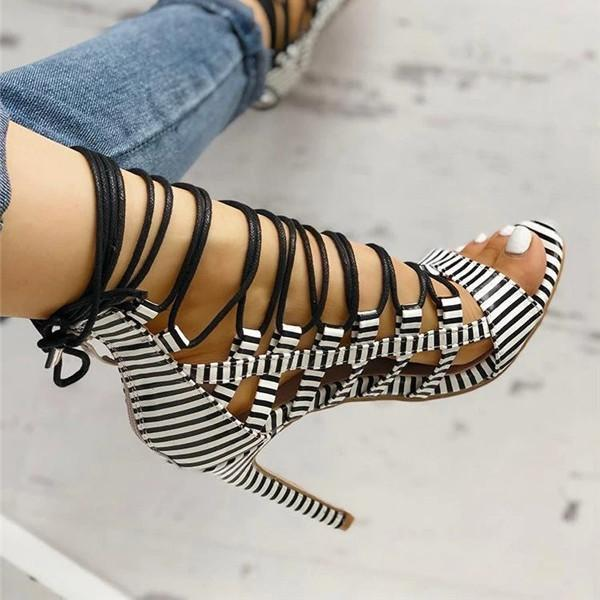 Twinklemoda Open Toed Lace-Up Thin Heeled Sandals