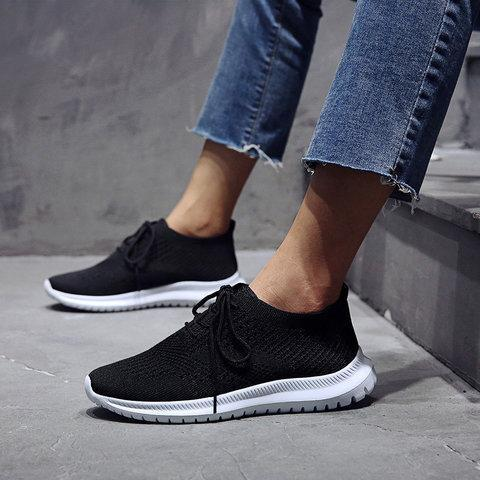 Breathable Mesh Flat Shoes Slip On Running Sneakers