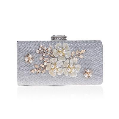 Sequined flower shell bead clutch leaf pearl evening bags gold silver black mixed color purse clutch bag woman Clutch-1.2