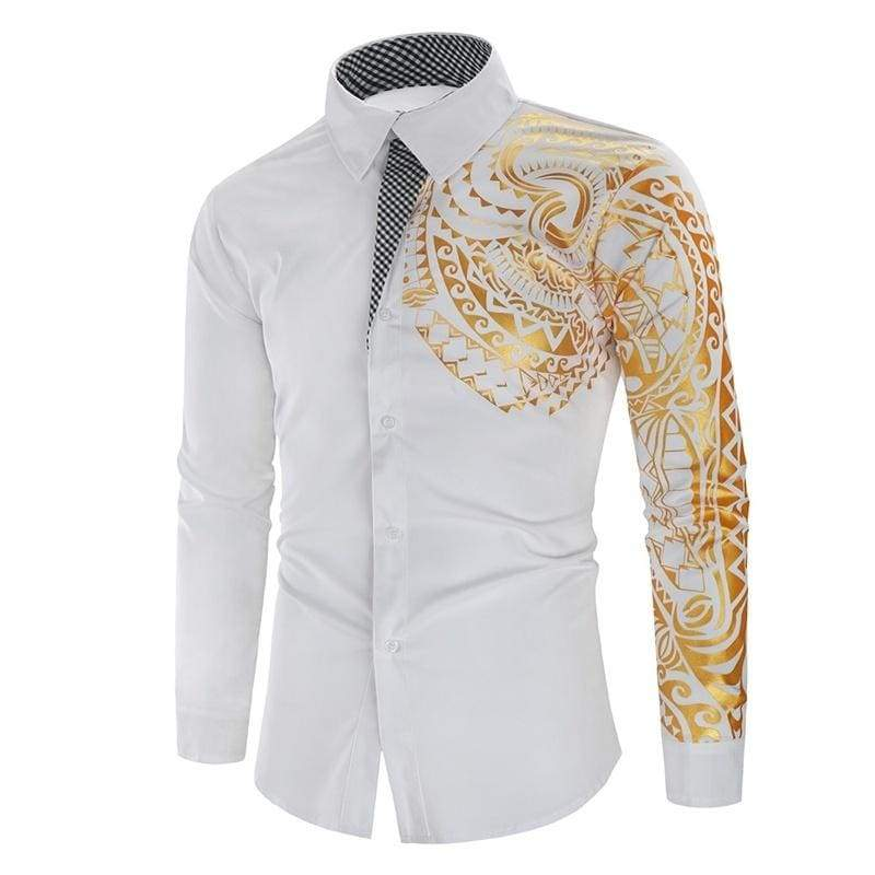 Men Floral Printed Shirts Long Sleeve Men Dress Shirt Homme US Size