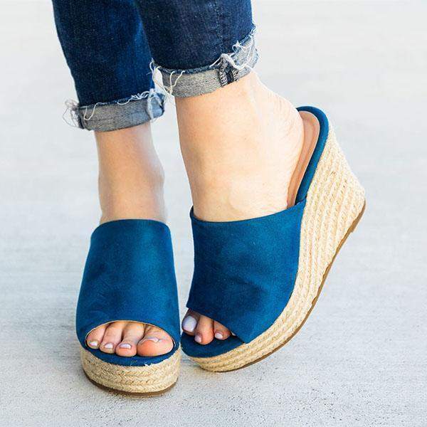 Faddishshoes Chic Slip-On Espadrille Wedges Sandals