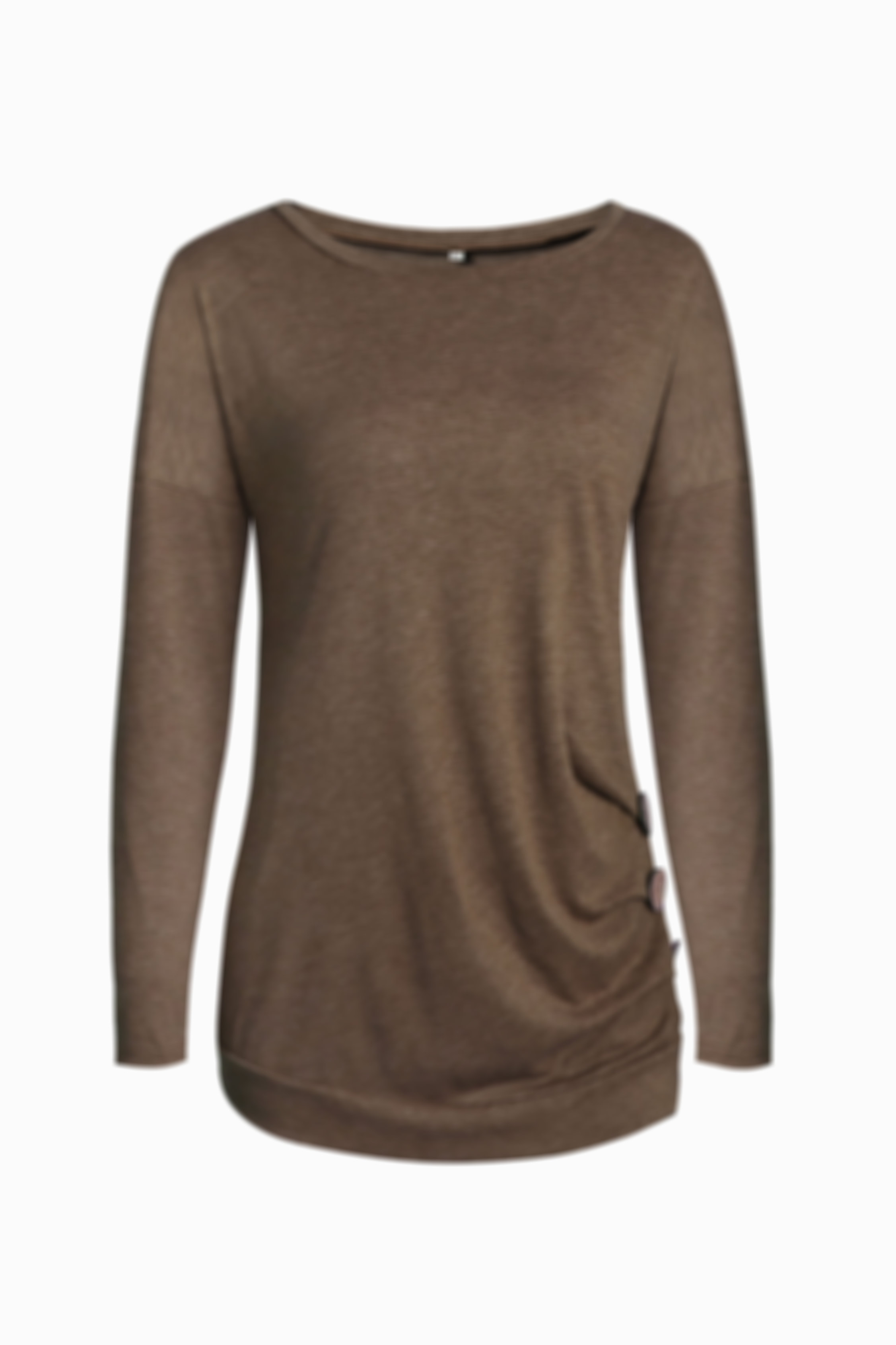 Pleated Side Simple Long-Sleeved Side Button Top