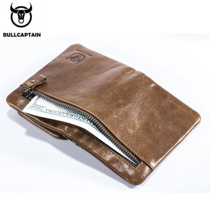 Men's BULLCAPTAIN Cow Leather Coin Business RFID Card Holder Wallet