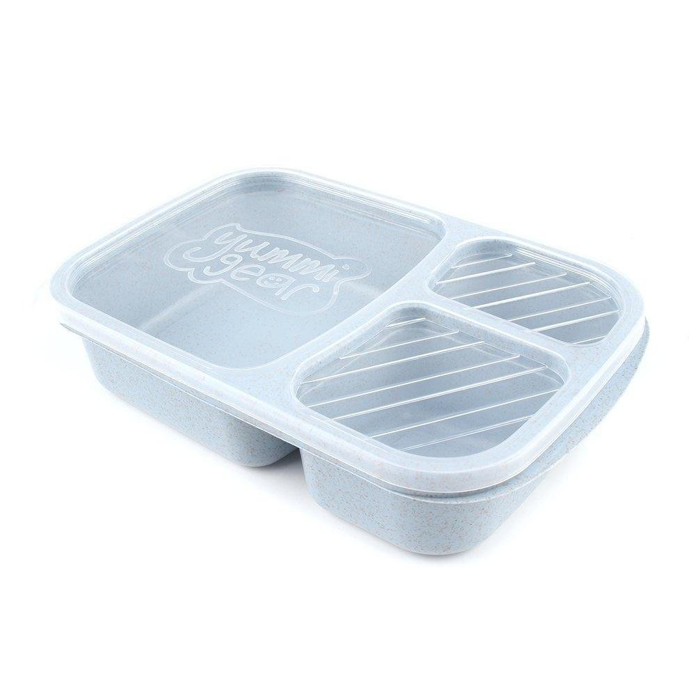 Wheat Straw Bento Box 3 Grids With Lid Microwave Food Box Lunch Bento Box