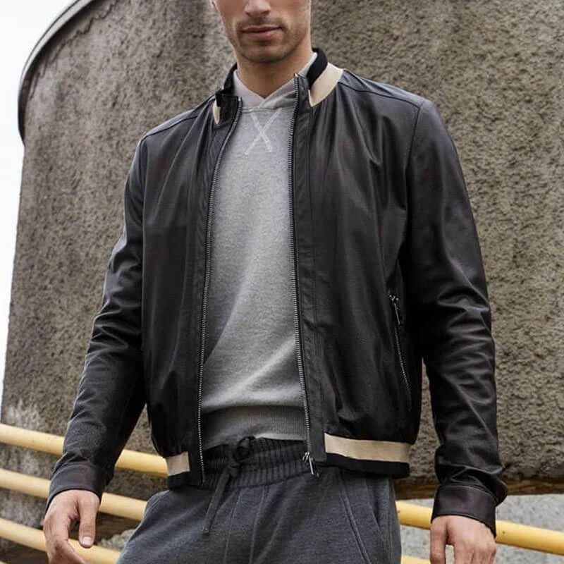 Men's fashion contrast color ribbed zipper casual leather jacket