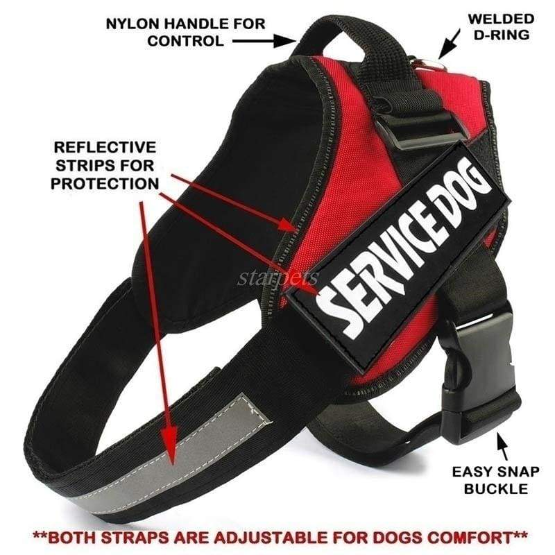 Upgrade Comfortable Reflective Service Dog Vest / Harness with Hook and Loop Straps Service Dog Harness Pet Training Vest with Reflective Patches for Large Medium Small Dogs From 12colour (Size:2xS-2xL)