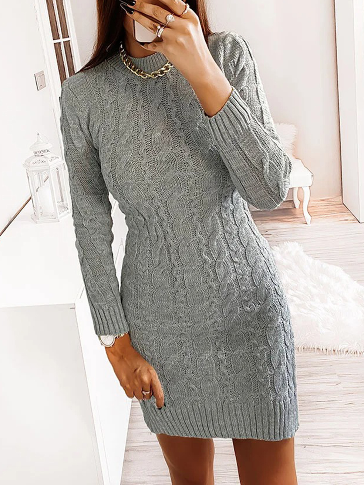 Women'S Turtleneck Sweater Sexy Long Sleeve Dress(Plus Size)
