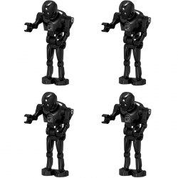 4-in-1 Mini Black Robot Small Army Puzzle Assembled Building Block Toys - Black