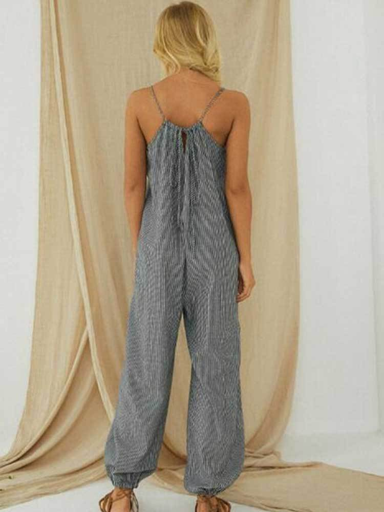 Women Sling Pocket Striped Cotton Linen Jumpsuit