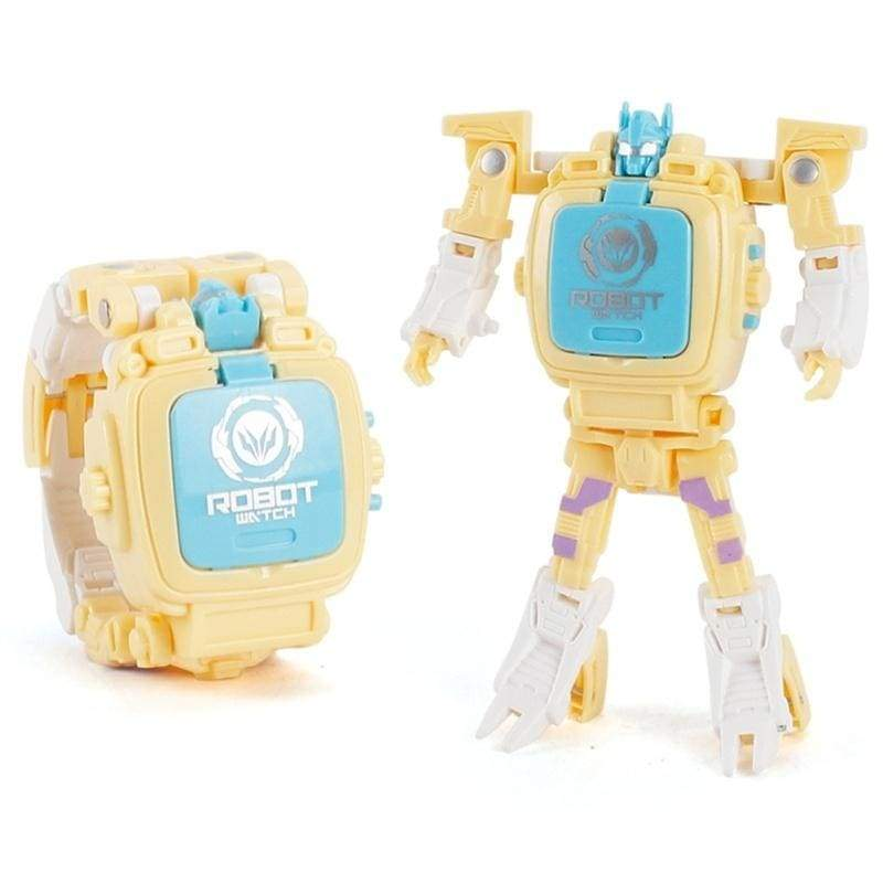 New Cartoon Deformed Digital Display Watch Transformable Robot Electronic Wristwatch Kids Watches Boy Girl Toy Christmas Birthday Gift Adjustable Size