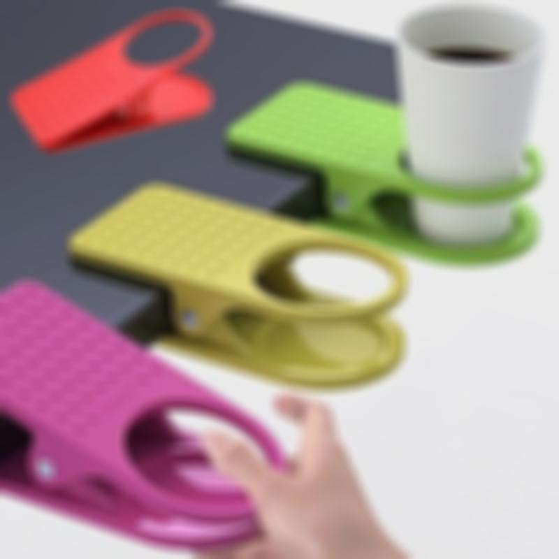 Ahome7 - 3pcs Creative Table Desk Cup Holder Clip Drink Clip Coffee Holder Random Color