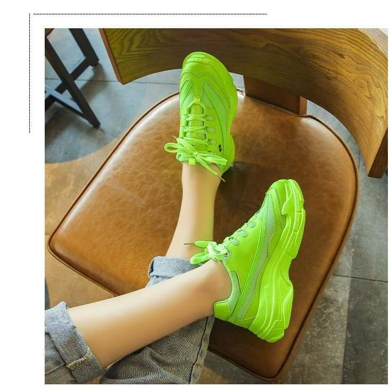 2019 New Designer Sneakers Women Platform Casual Shoes Fashion Sneakers Platform Basket Femme Yellow Casual Chunky Shoes