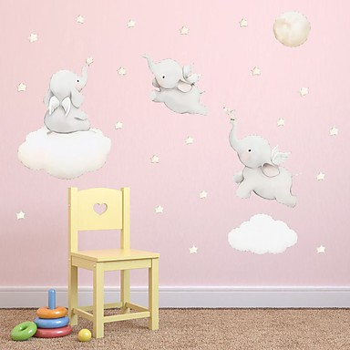 Watercolor Elephant Star Nebula Wall Adhesion Children'S Room Bedroom Self-Adhesive Paper Wallpaper Decorative Wall Stickers - Animal Wall Stickers / Plane Wall Stickers Still Life / Animals Kids Room