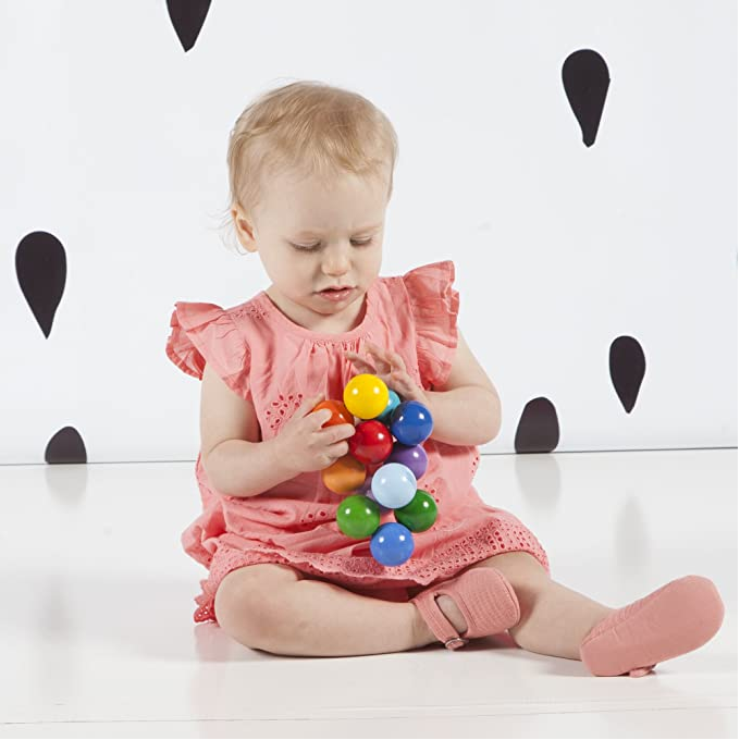 Classic baby wooden beads Hand grasping baby teeth training toy